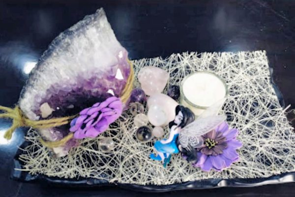 Amethysit combinationation 2 hearts of rose and clear Quartz with Aroma Candle