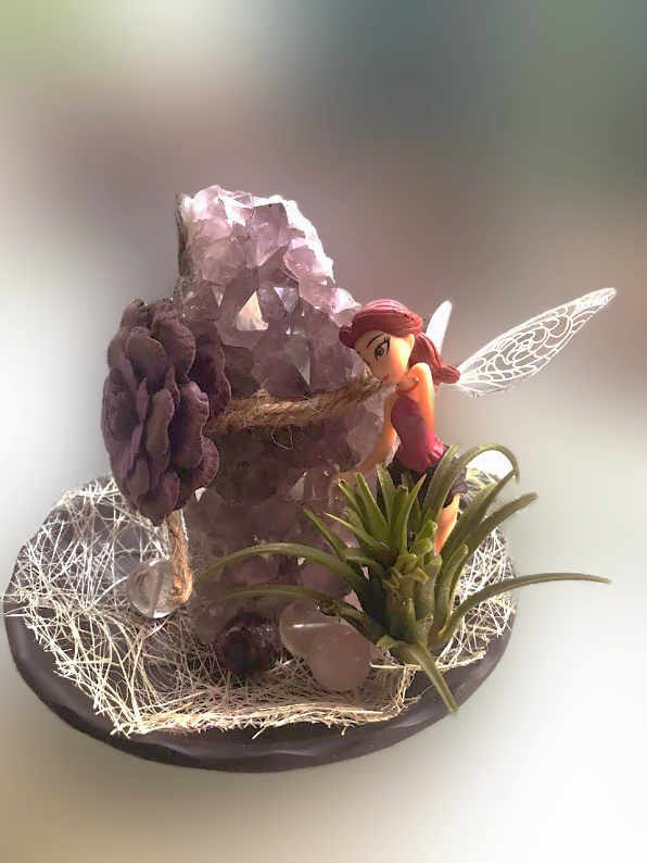 Amethyst Cluster with Clear Quartz and Rose Quartz Crystal Set