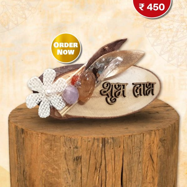 wooden subh labh crystal